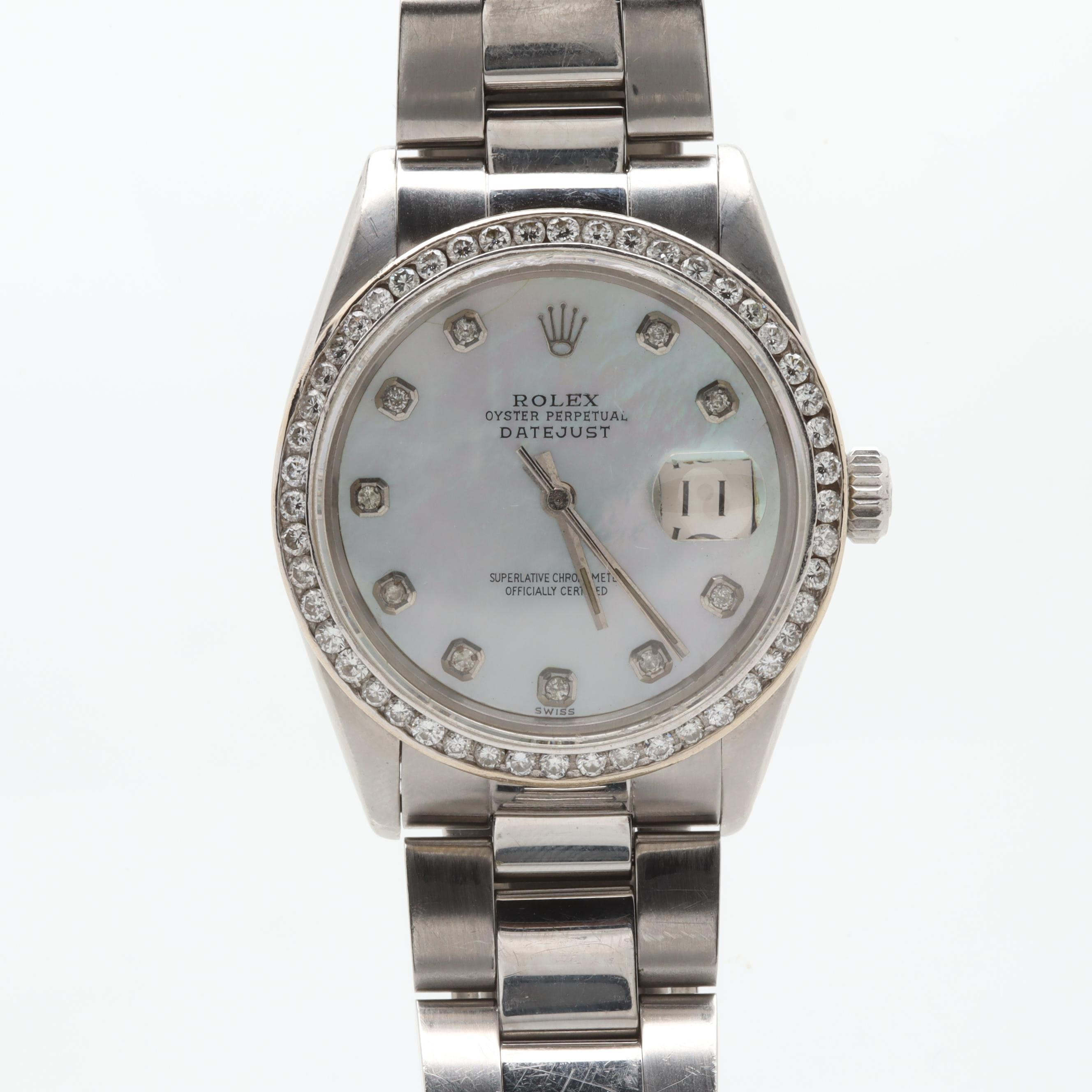 Rolex Datejust Stainless Steel and 1.62 CTW Diamond Wristwatch