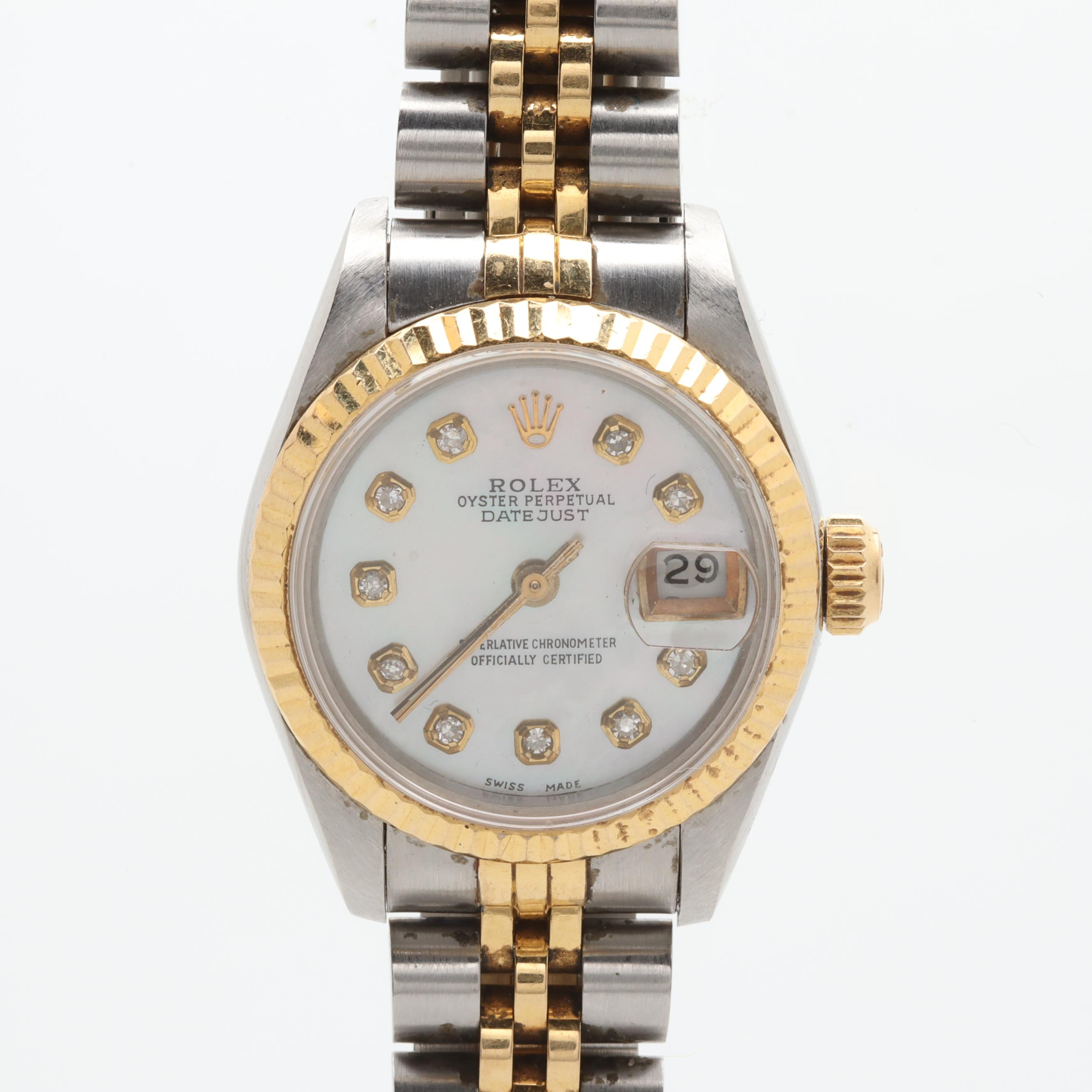 Circa 1986 Rolex Diamond and Mother of Pearl Wristwatch with 18K Accents