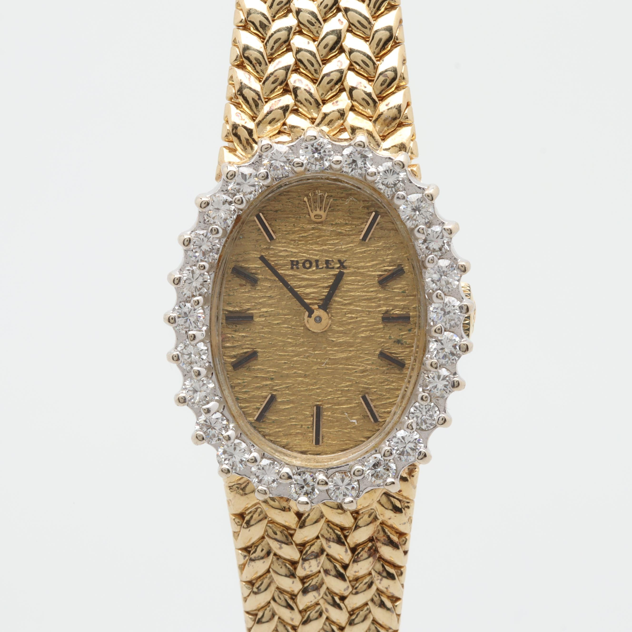 Rolex 14K Yellow Gold 1.00 CTW Diamond Wristwatch