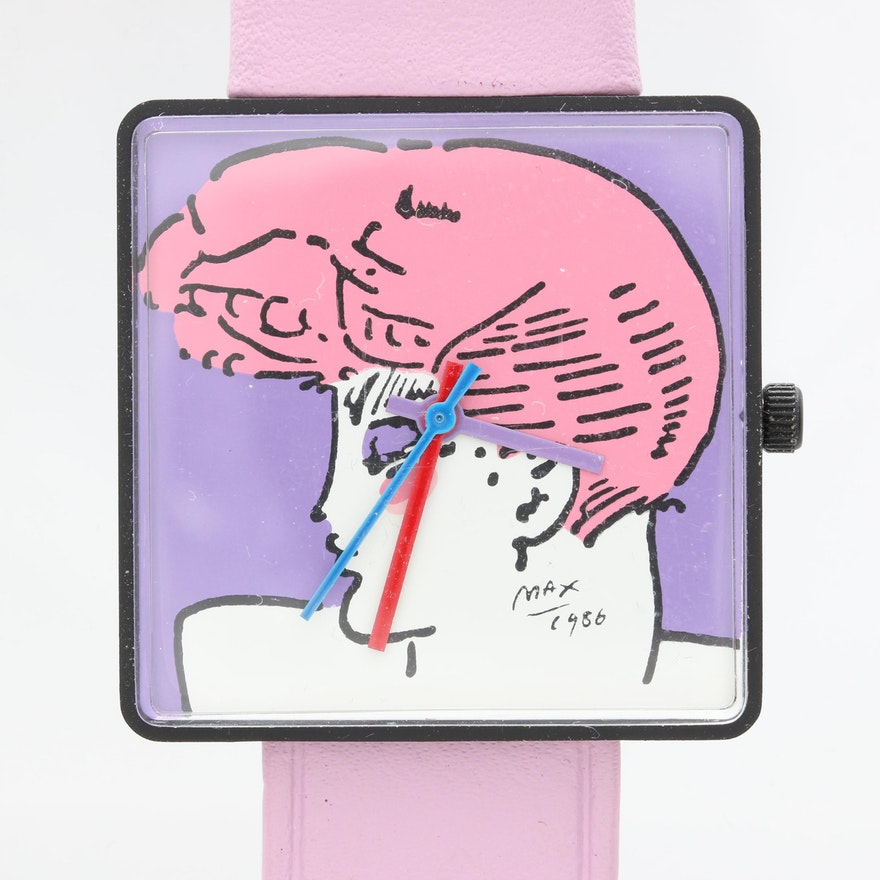 1986 Peter Max Stainless Steel and Leather Wristwatch with Case