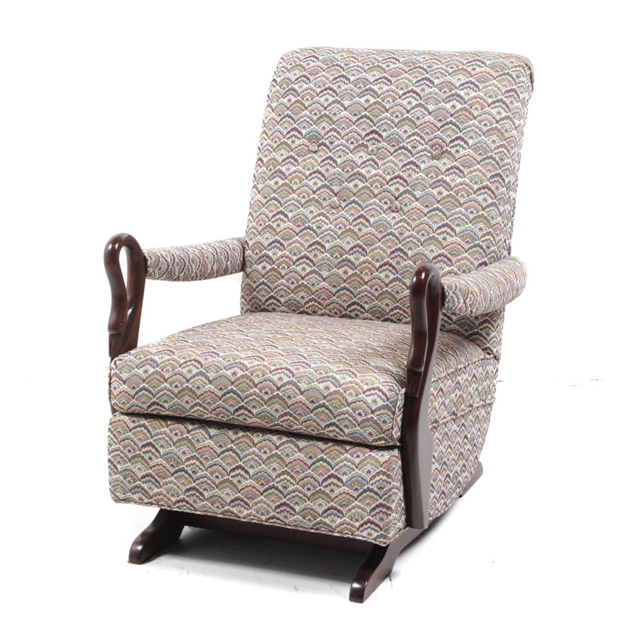 Vintage Upholstered Rocking Chair Ebth