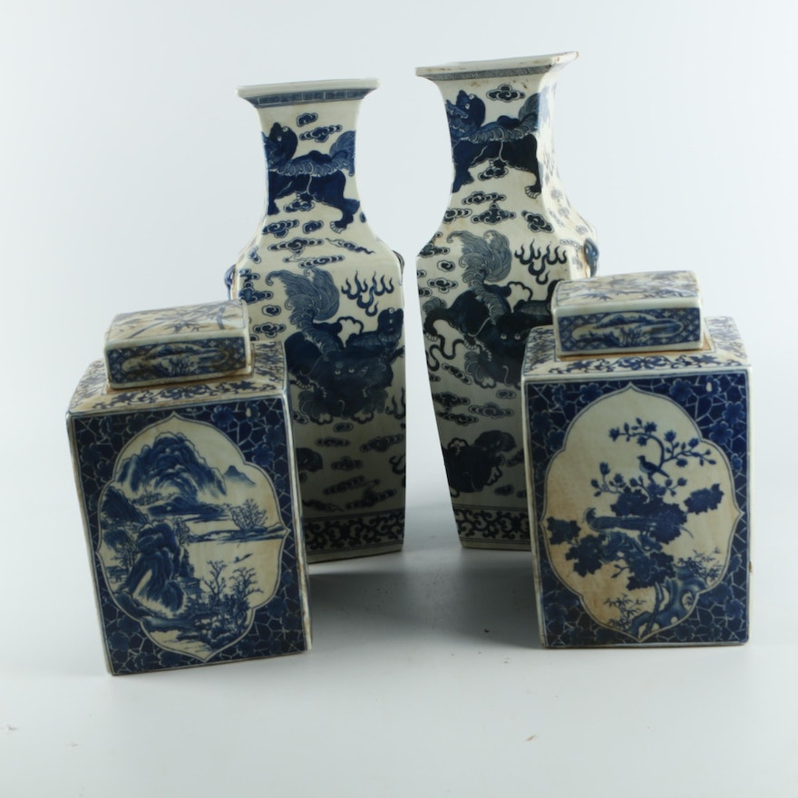 Chinese Blue And White Porcelain Vases And Jars Ebth