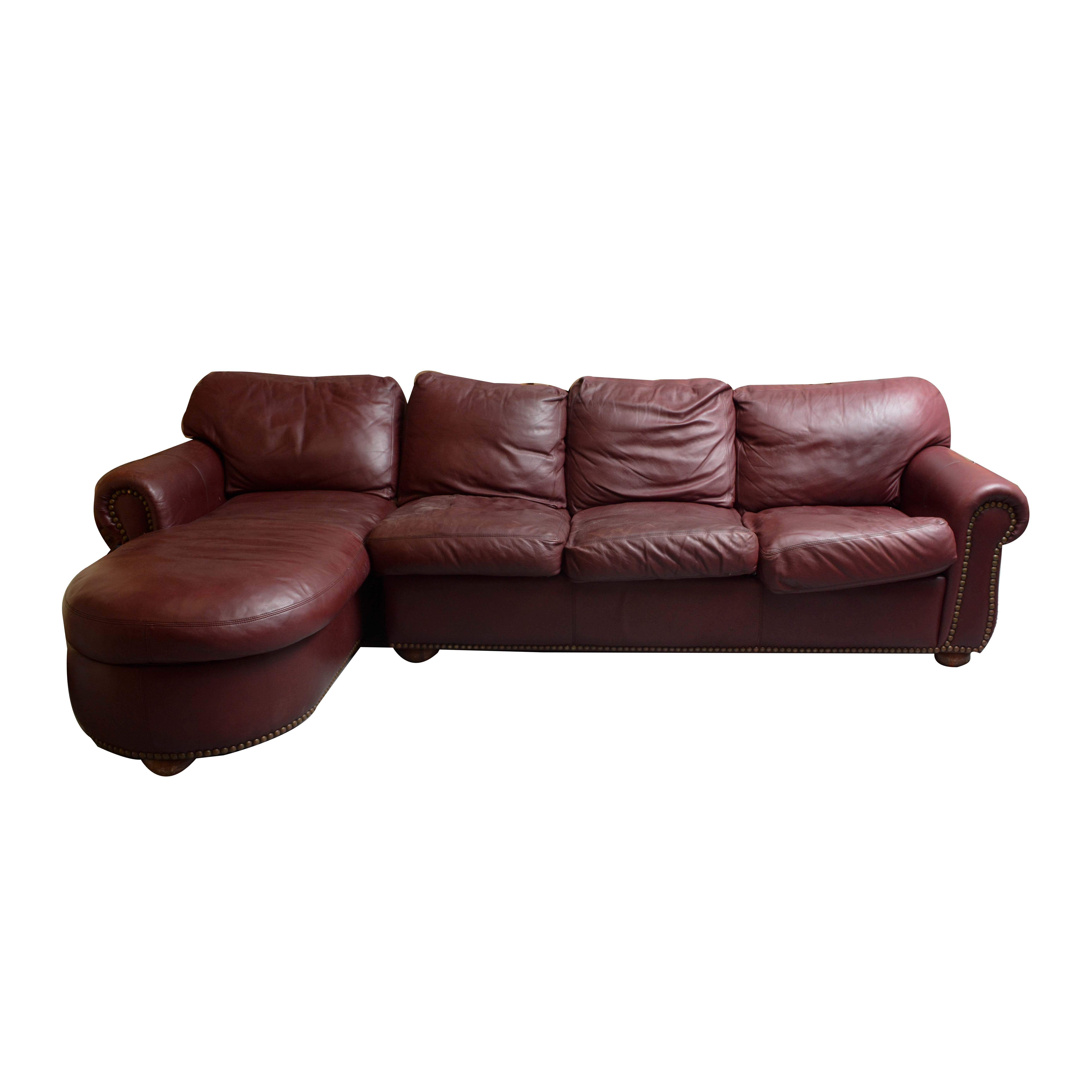 Leather Sofa with Chaise by American Leather