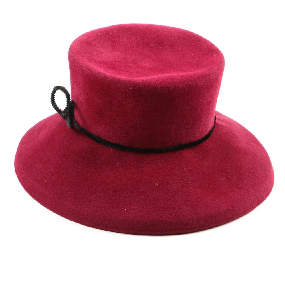 Dominique Mathe Red Felted Wool Wide Brim Hat