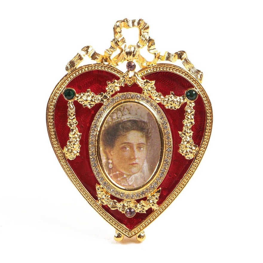 Faberg Enameled Heart Shaped Picture Frame Ornament Ebth