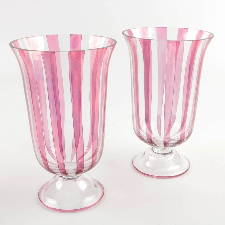 Pair Of Striped Polish Glass Vases Ebth
