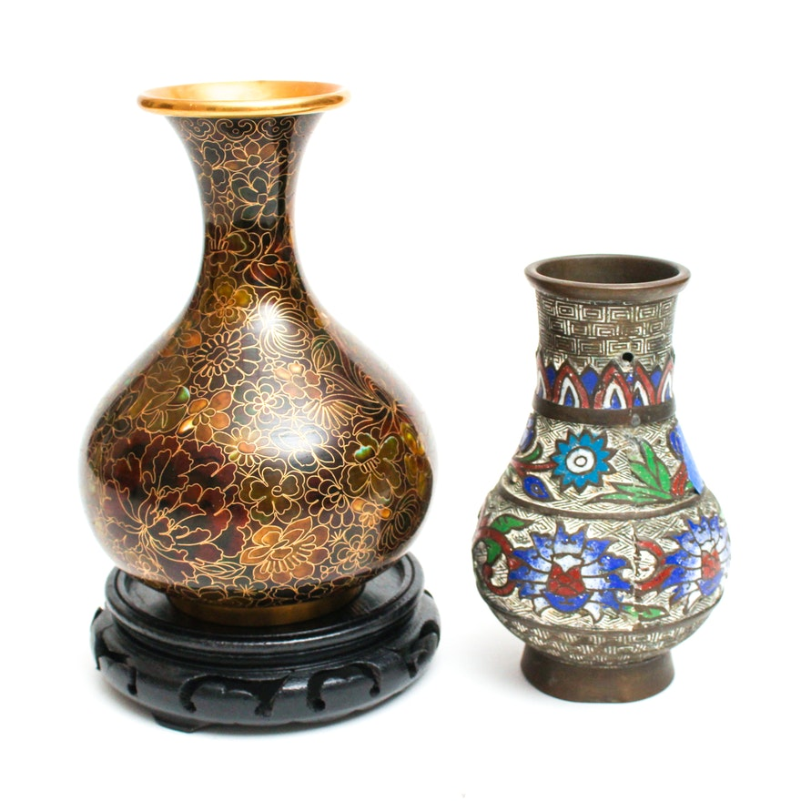 Chinese Cloisonne Vase And Japanese Metalware Vase Ebth