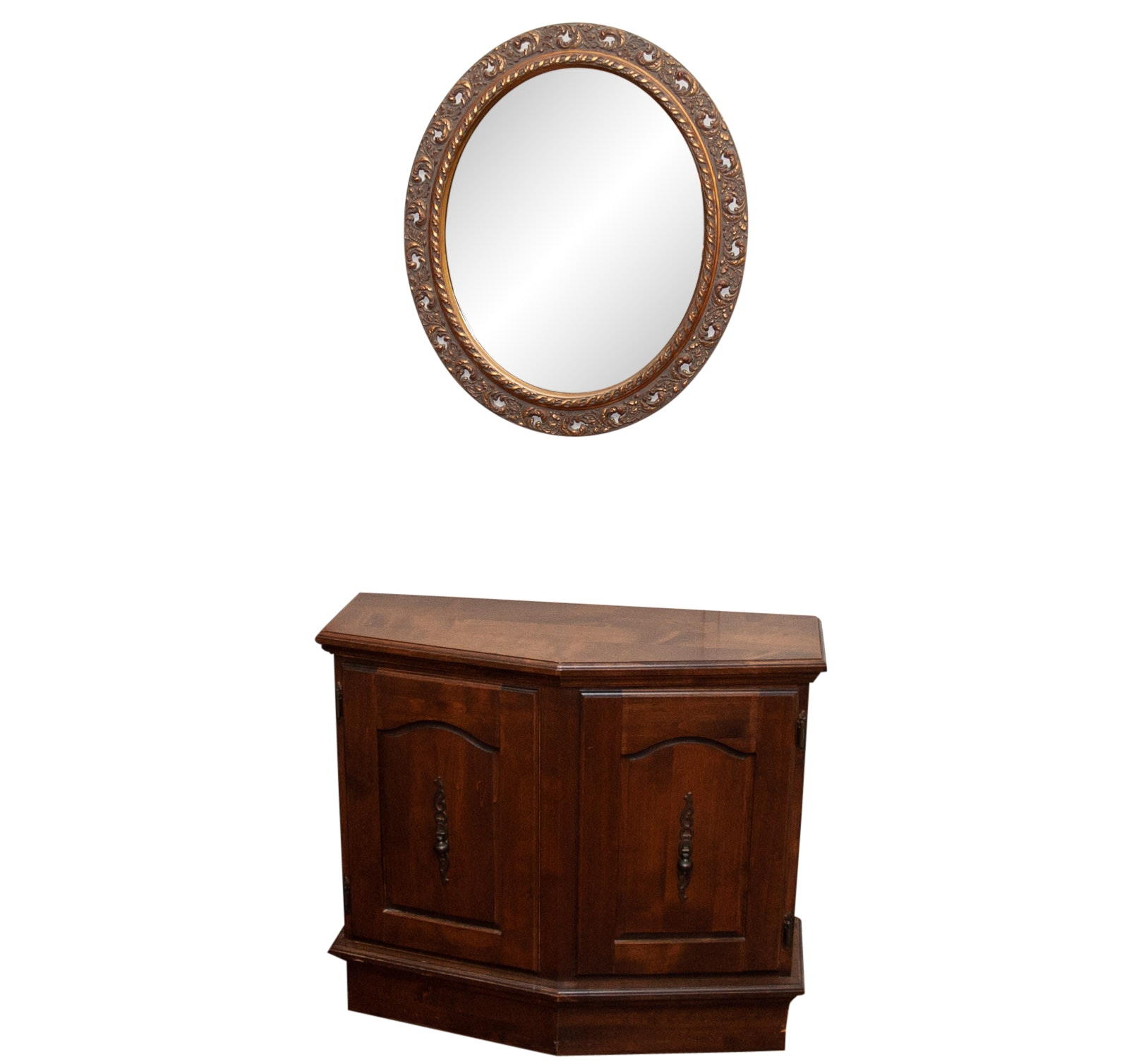 Gilt Embossed Wall Mirror and Wooden Storage Cabinet