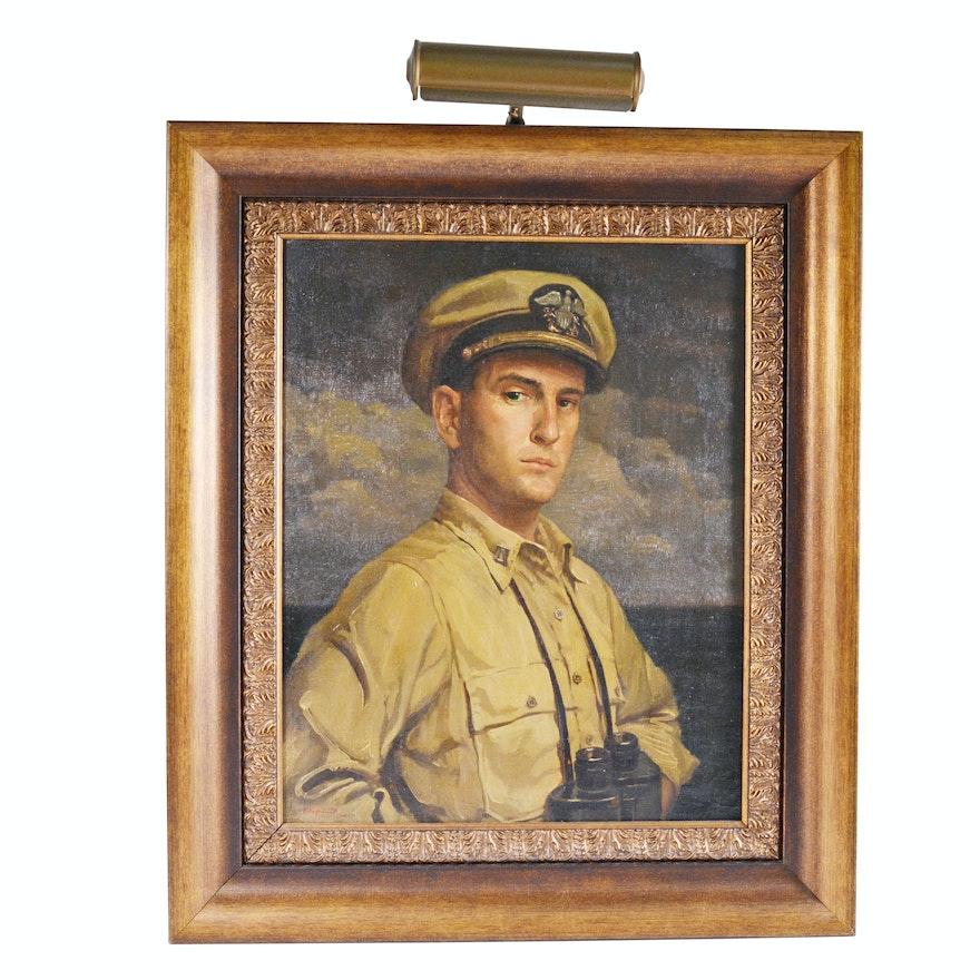 Edmond J. Fitzgerald Oil Painting Self Portrait as a Naval Officer