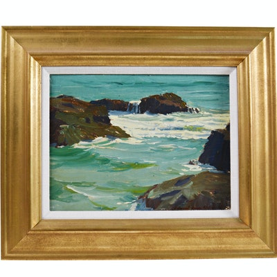 Edmond J. Fitzgerald Original Oil Painting of Ocean Scene