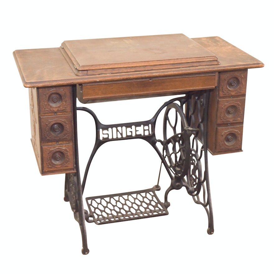 Antique oak singer sewing machine table ebth antique oak singer sewing machine table watchthetrailerfo
