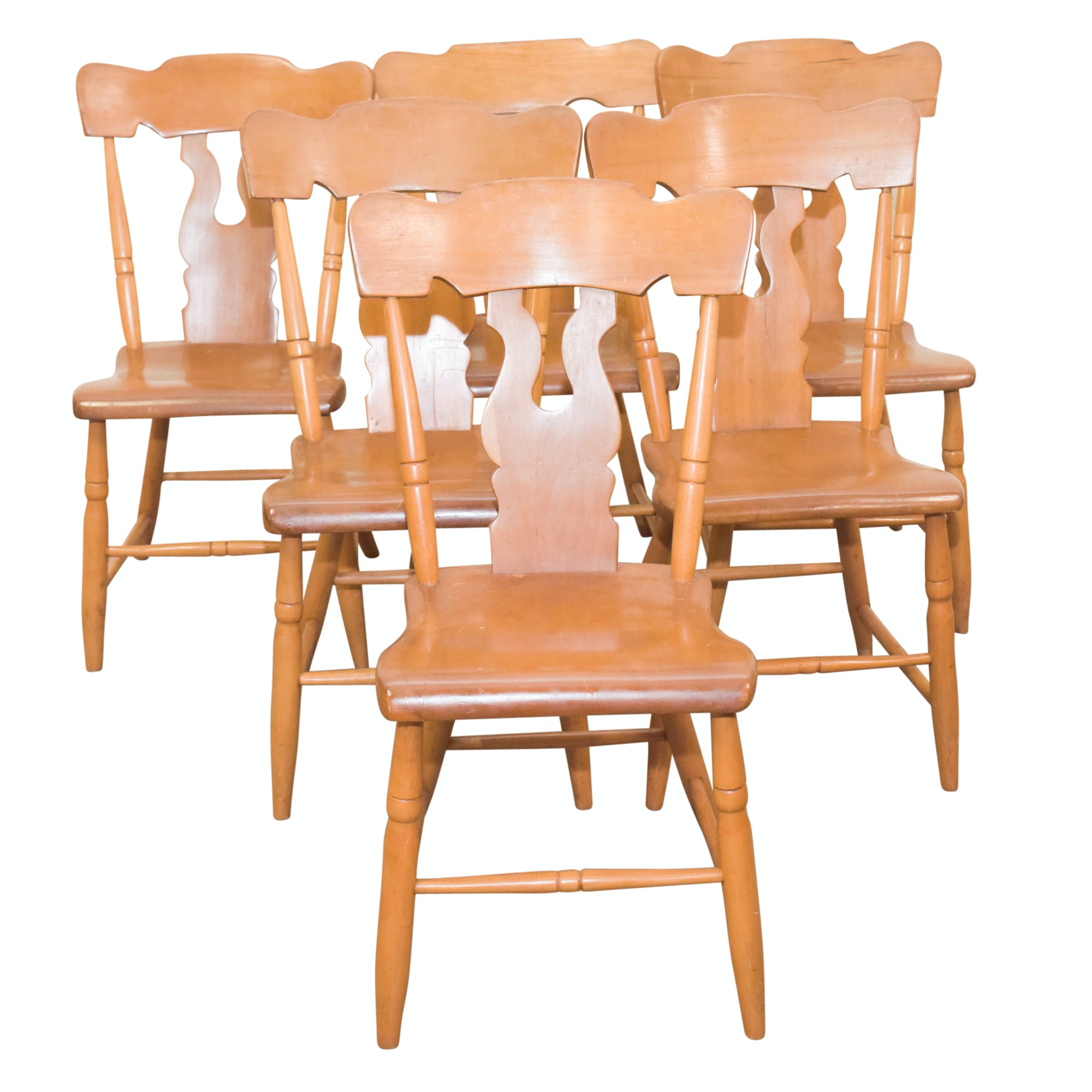 Vintage Maple Finish Side Chairs