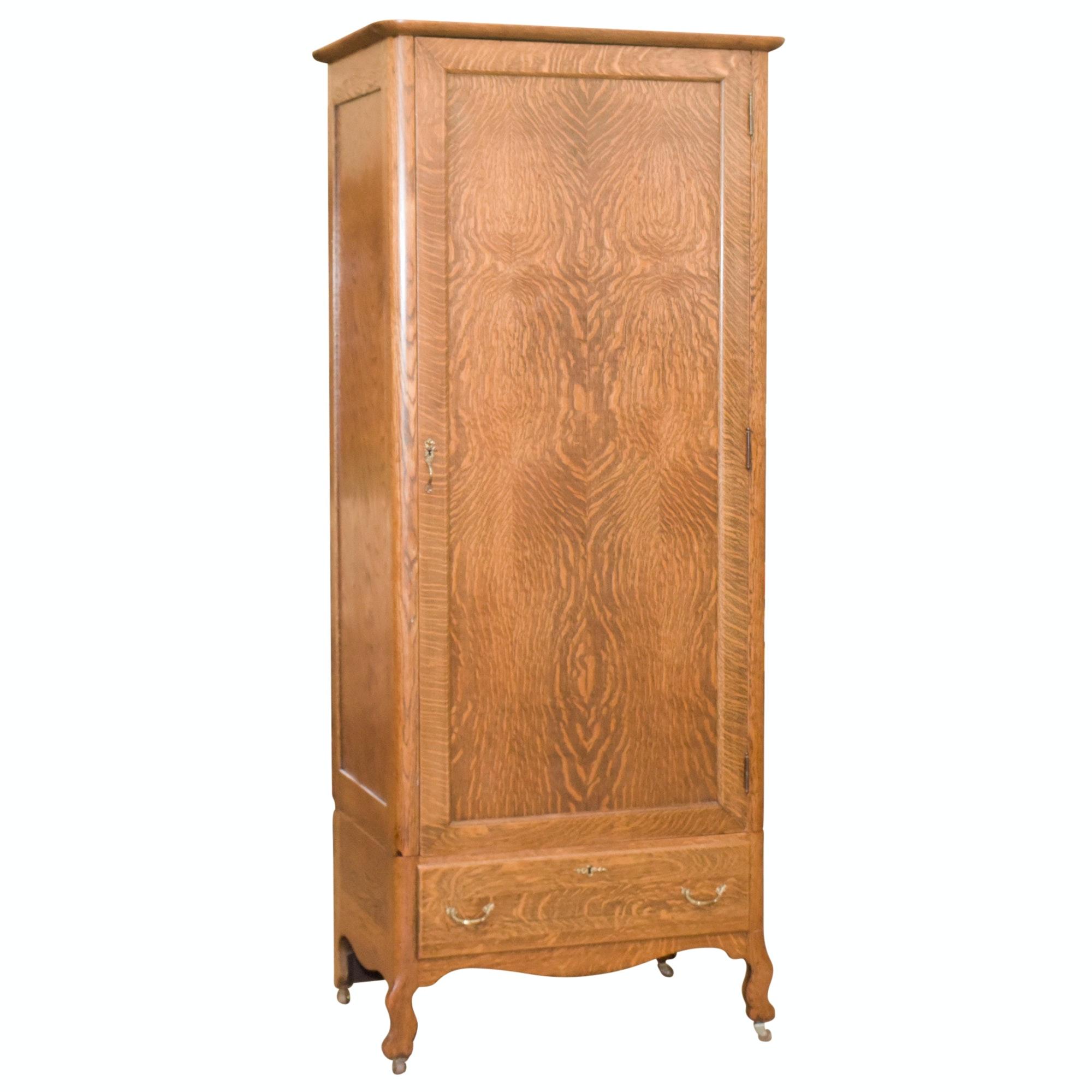 Antique Late Victorian Tiger Oak Wardrobe