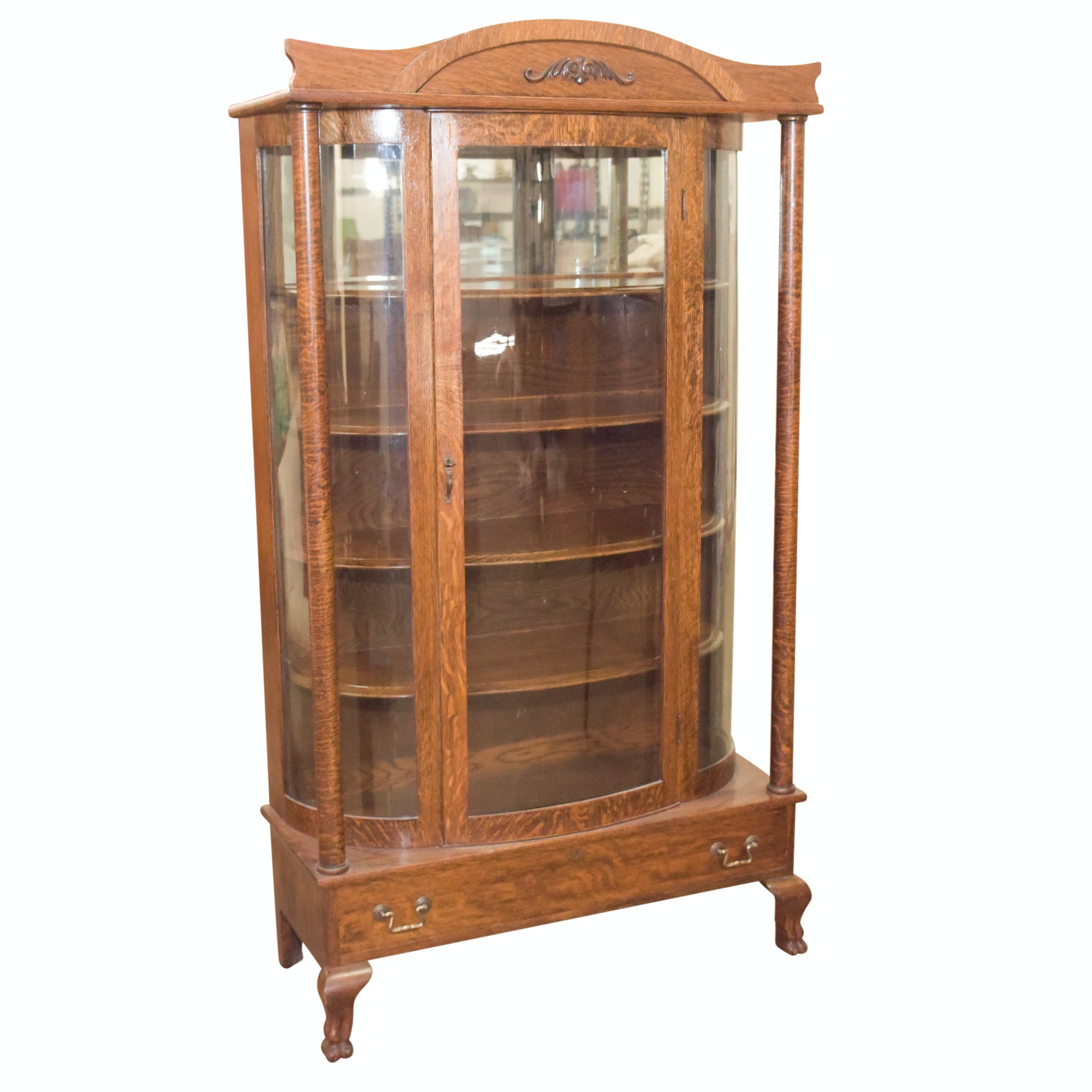 Late 19th Century Antique Tiger Oak Glass Front Curio Cabinet