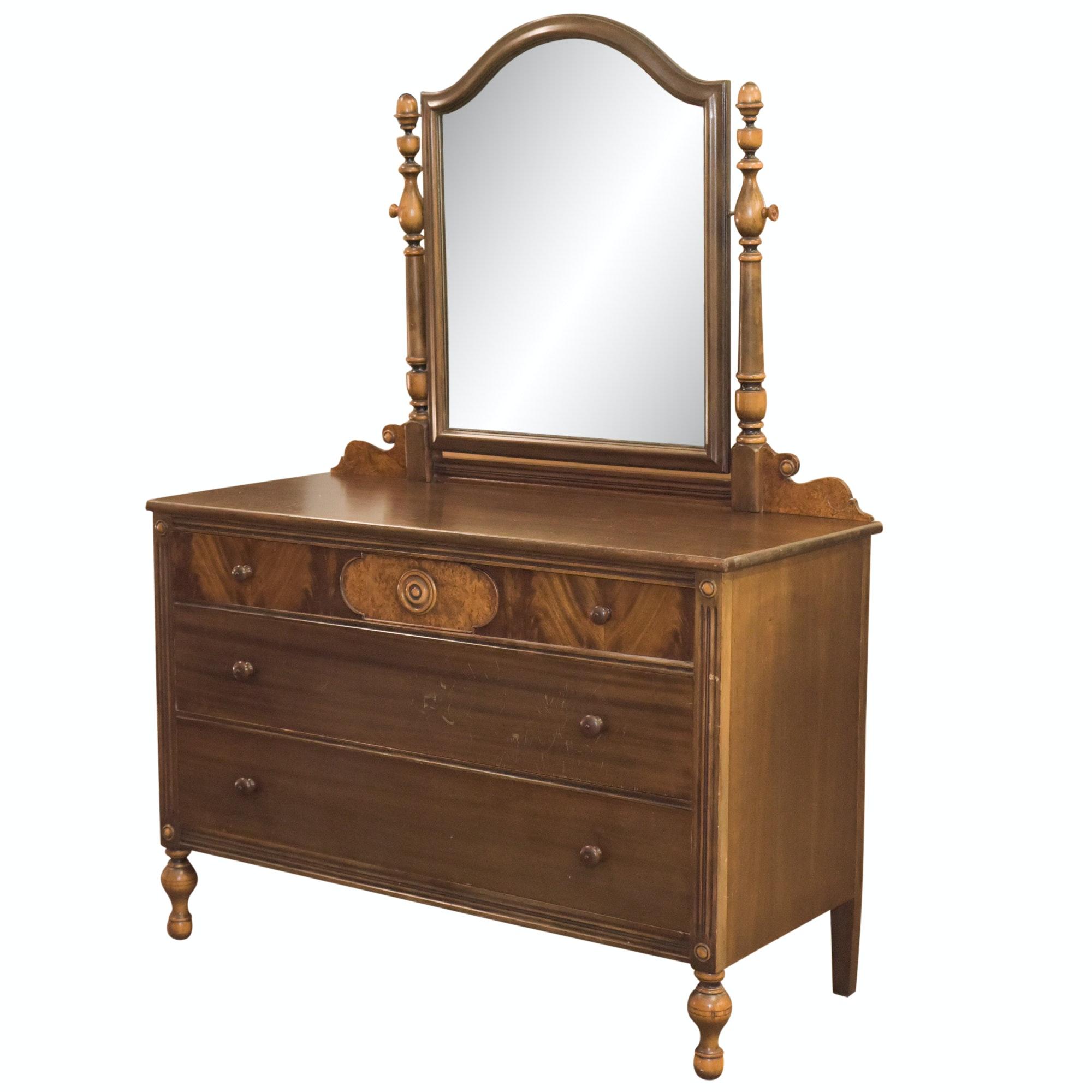 Vintage Victorian Style Burl Wood Veneer Dresser and Mirror by Paine Furniture