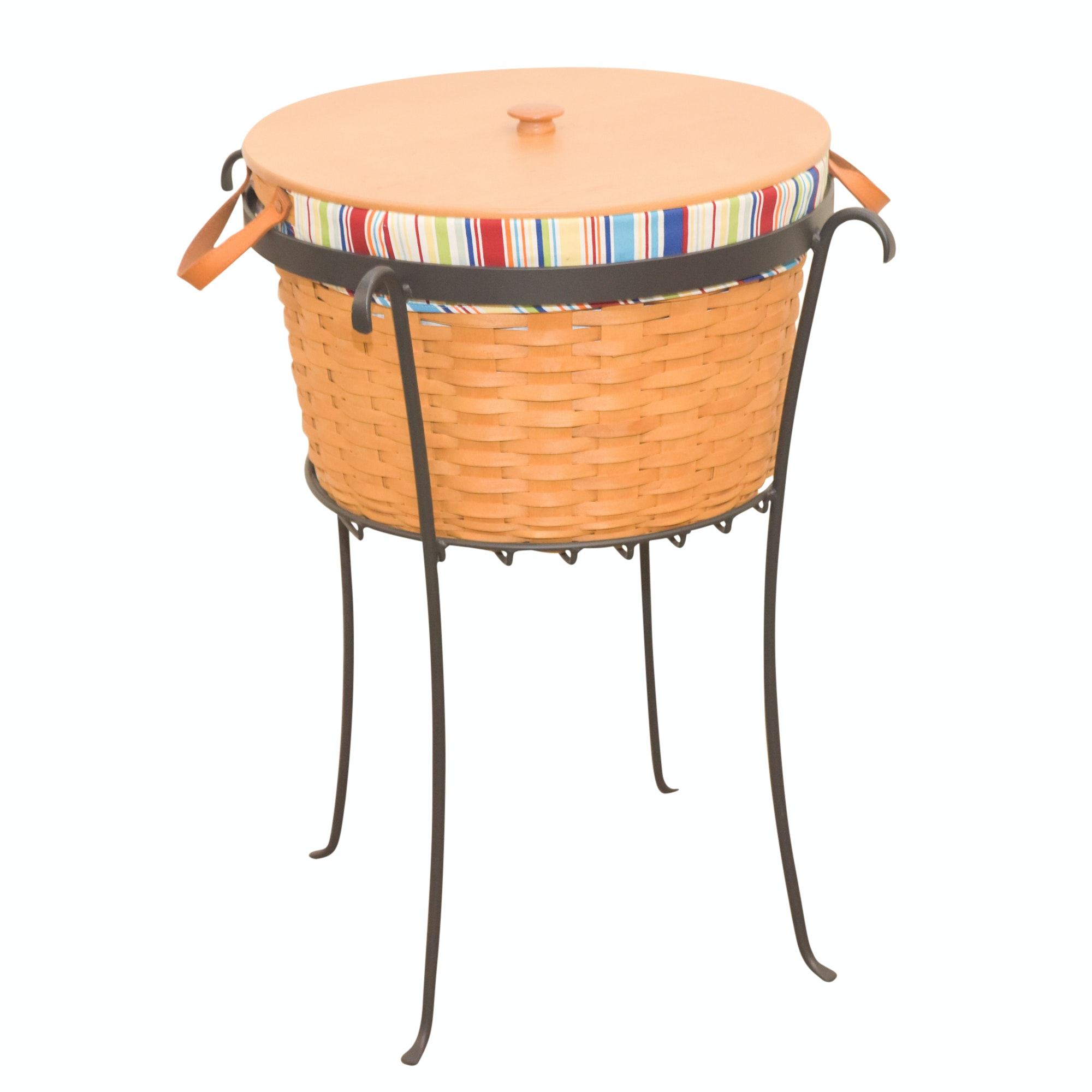 Longaberger Lined Beverage Tub Basket with Wooden Lid and Iron Stand