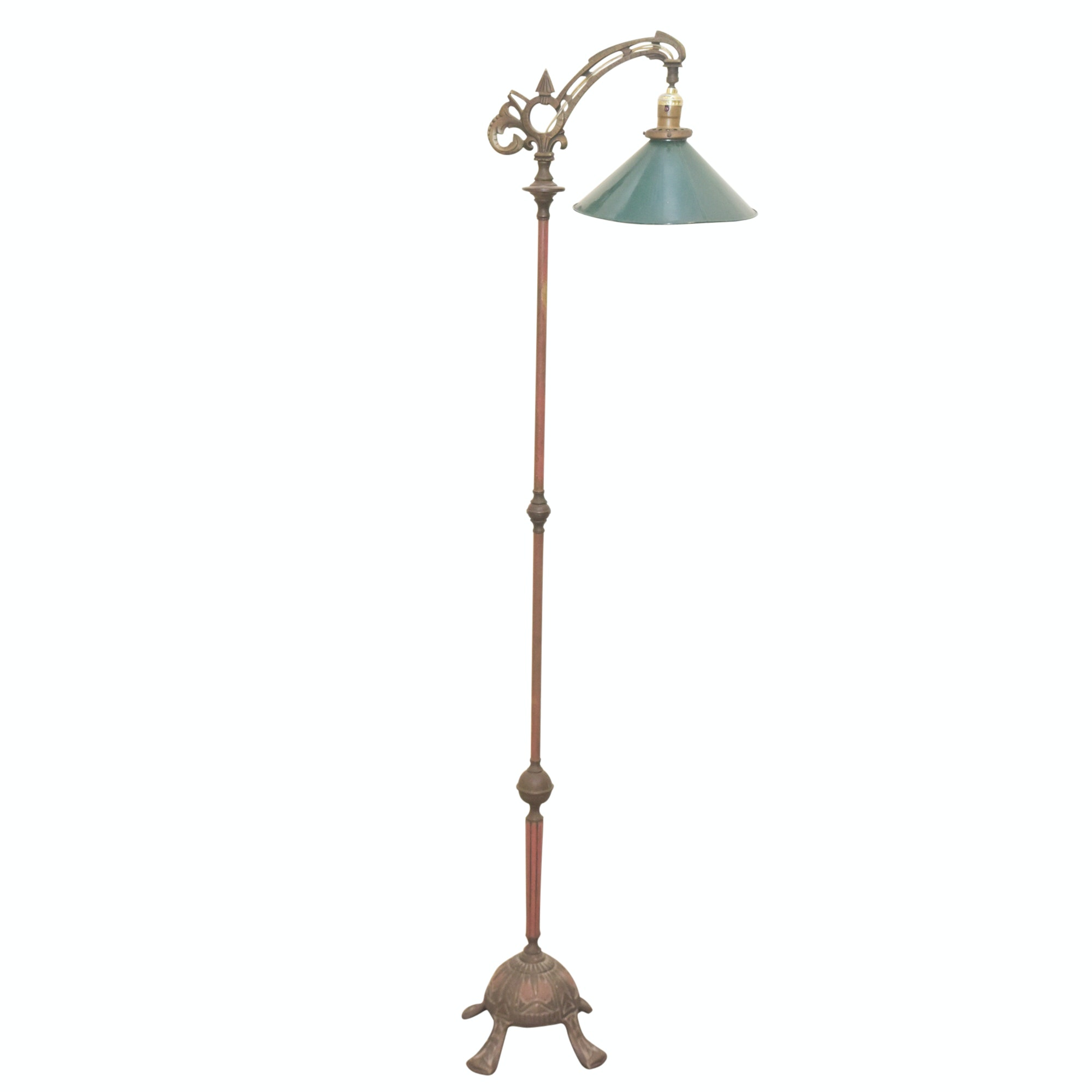 Vintage Art Deco Style Bent Arm Floor Lamp with Green Metal Shade