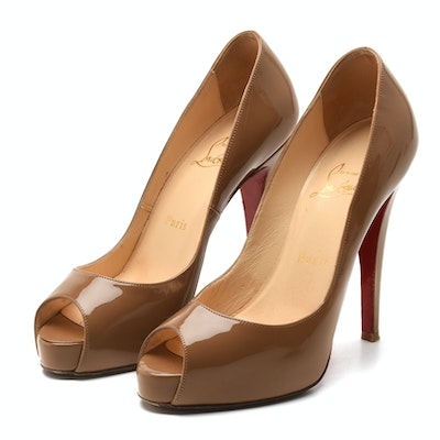 Christian Louboutin of Paris Cappuccino Patent Leather Open-Toe Platform Pumps