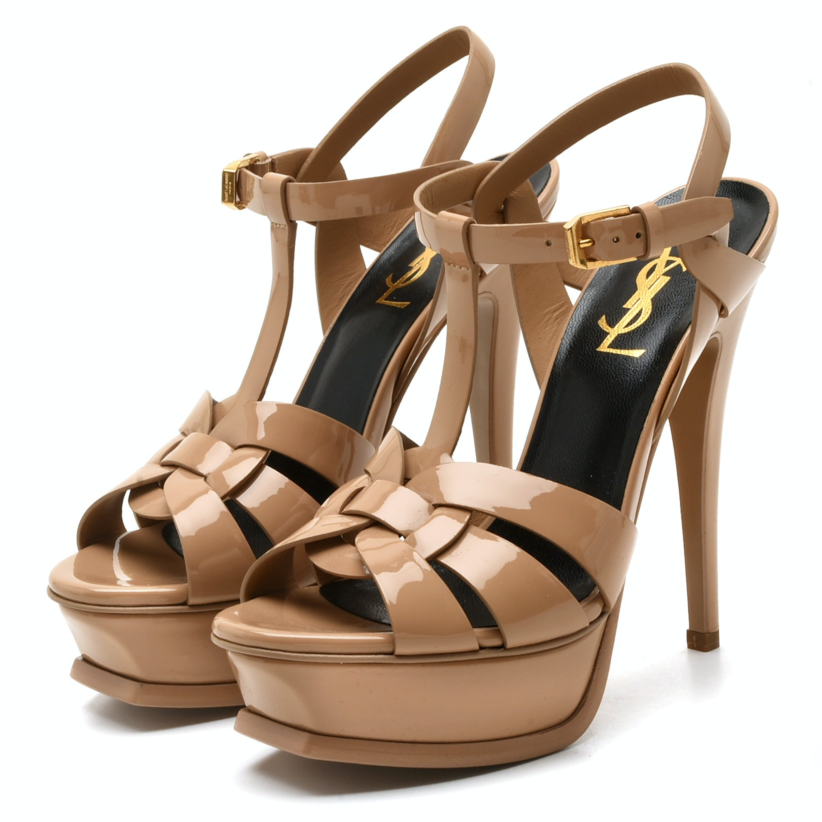 Yves Saint Laurent Tribute Nude Patent Leather Platform High-Heeled Sandals