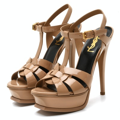 5047eaa68a8 Yves Saint Laurent Tribute Nude Patent Leather Platform High-Heeled Sandals