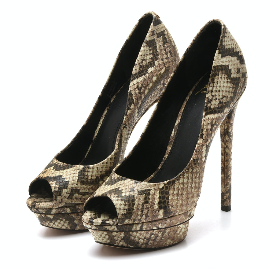 d4d4dfd4a2d Brian Atwood Python Print Embossed Leather Peep-Toe Platform Heels