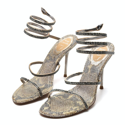 fb0f0185b888 René Caovilla Snake Coil Heeled Sandals with Crystals