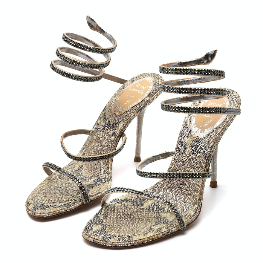 2c2eda0bf René Caovilla Snake Coil Heeled Sandals with Crystals   EBTH