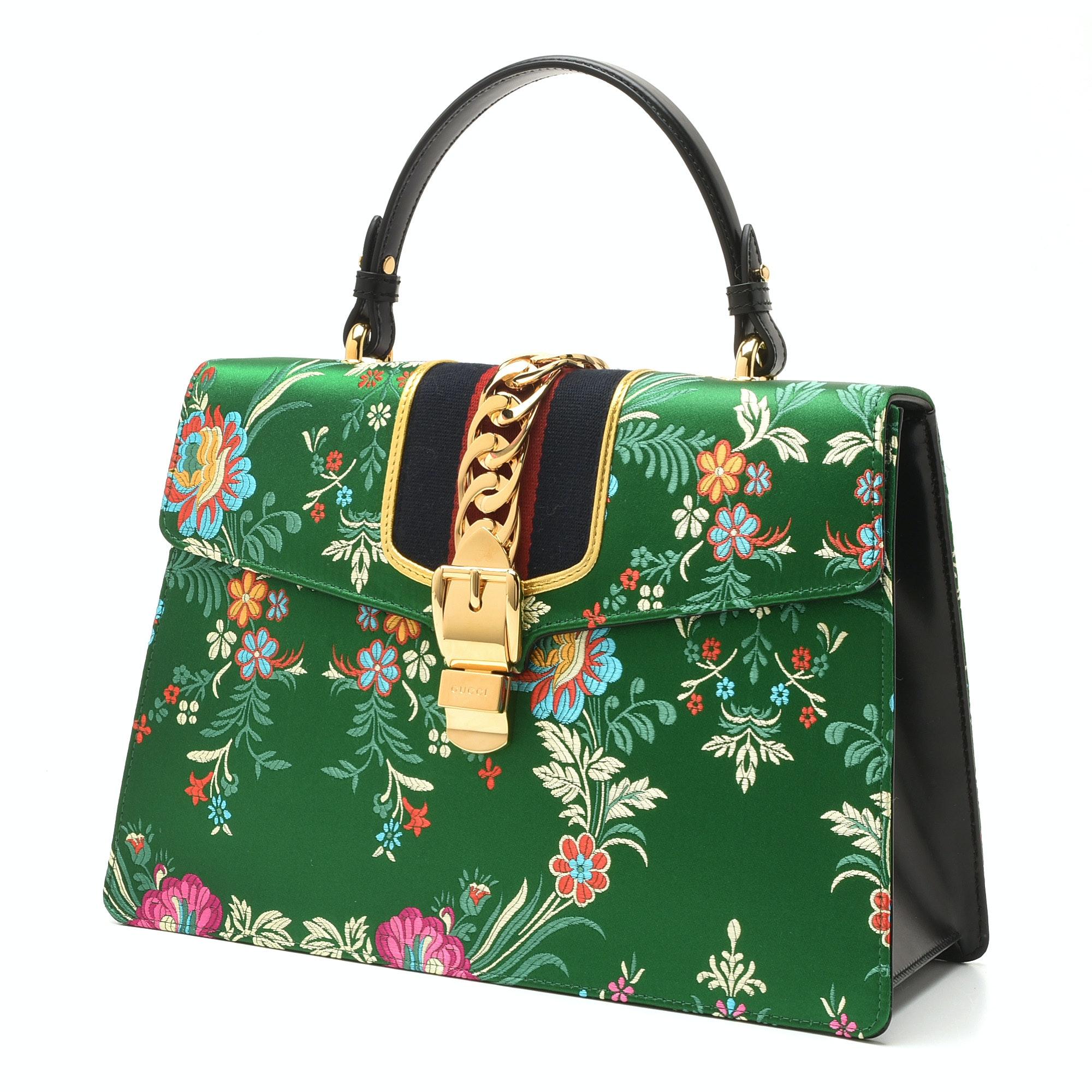 Gucci Sylvie Top-Handle Tokyo Green Multicolored Silk Floral Jacquard Handbag