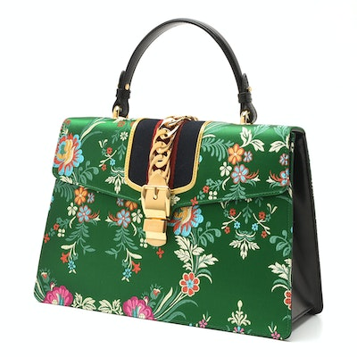 Gucci Sylvie Top-Handle Tokyo Green Multicolored Silk Floral Jacquard Handbag