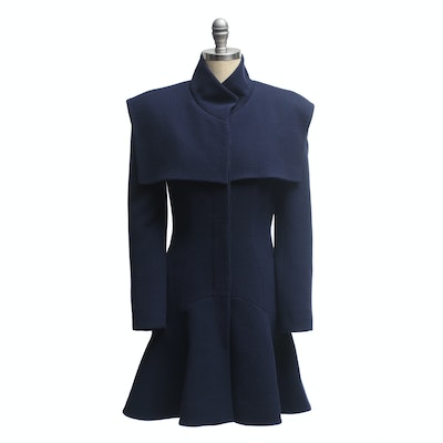 Alexander McQueen Navy Wool Coat with Flounce Hem
