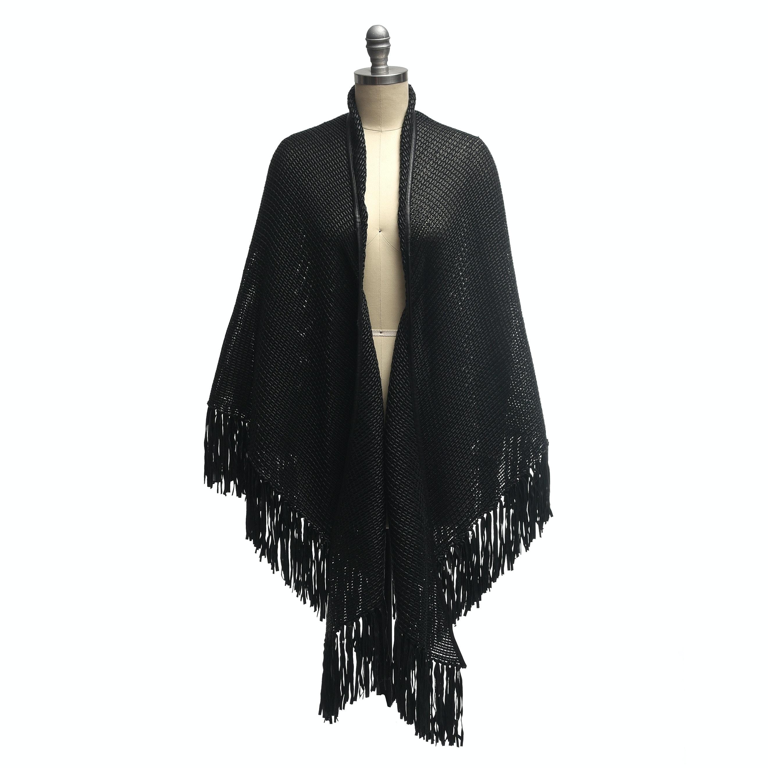 Woven Black Leather Fringed Shawl