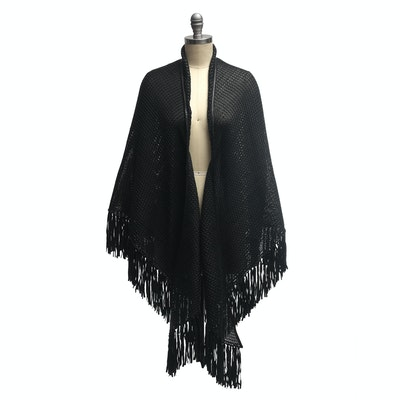 Woven Black Leather Fringed Shawl