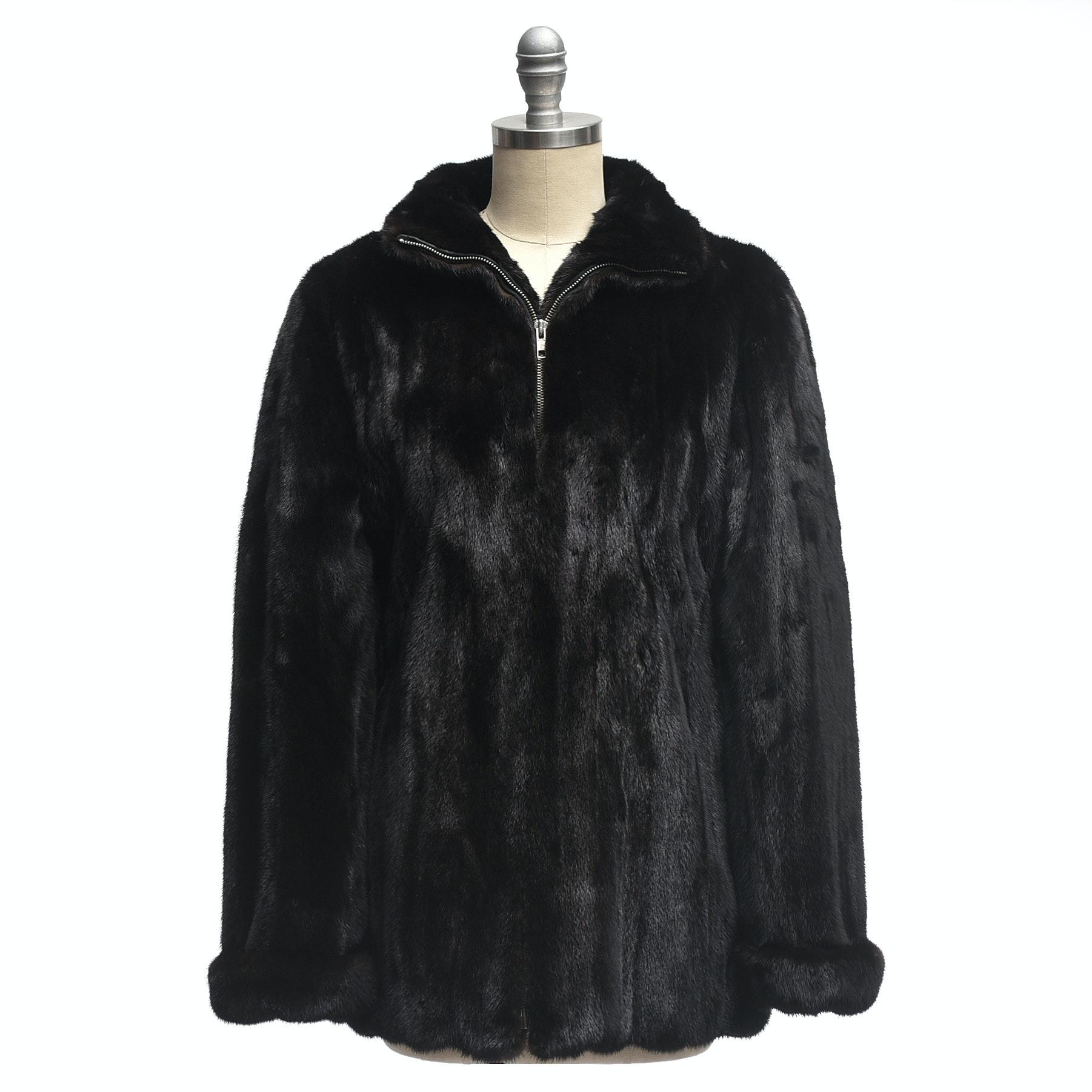 Marc Jacobs Designer Black Mink Fur Zipper-Front Coat