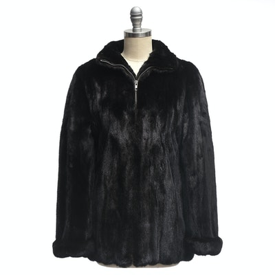 Marc Jacobs Designer Black Mink Fur Zipper-Front Coat