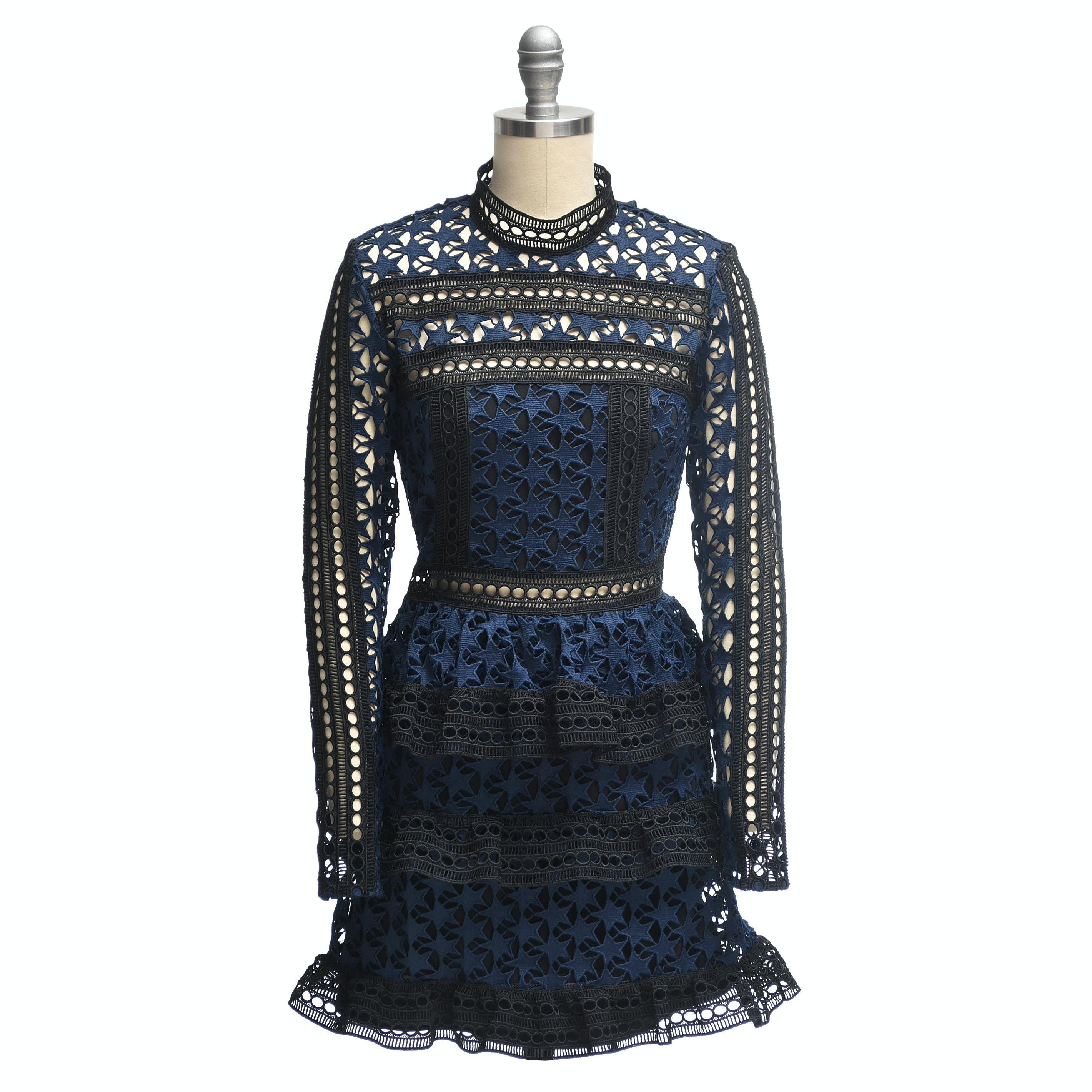 Self Portrait Navy Blue Star Lace Paneled Dress