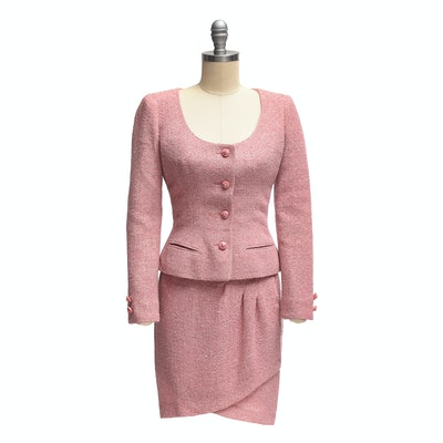 Valentino Boutique Dusky Pink Bouclé Knit Skirt and Jacket