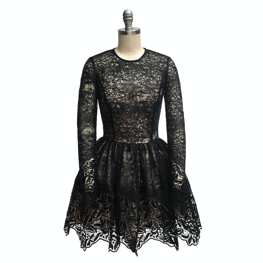 f3f717ea Alexis Black Malin Lace and Sequin Fit & Flare Cocktail Dress | EBTH