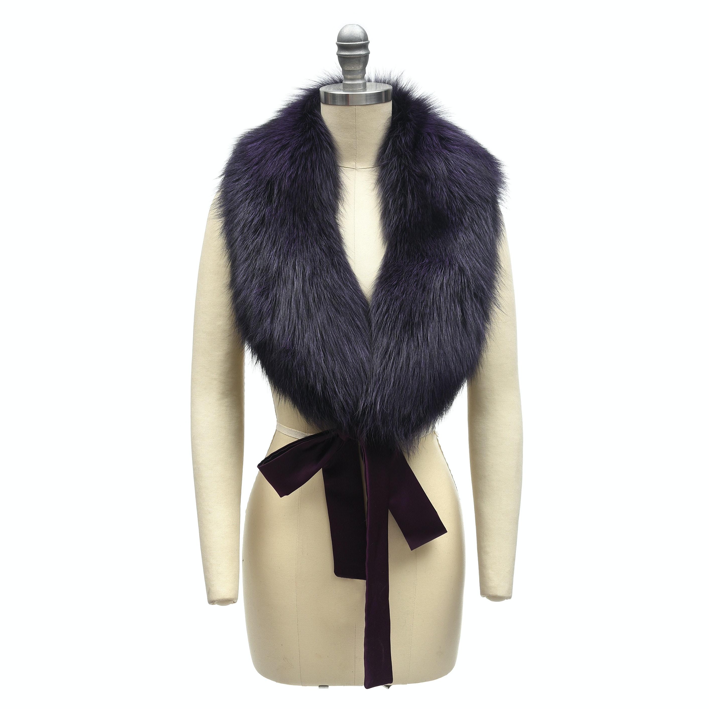 Adrienne Landau Deep Plum Dyed Fox Fur Shawl Collar with Satin Ties