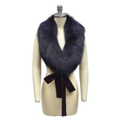 Adrienne Landau Deep Plum Dyed Fox Fur Shawl Collar with Satin Ties