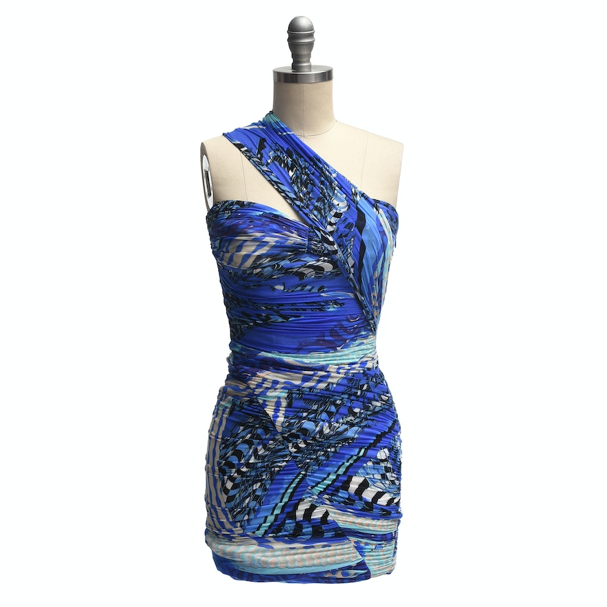 303c698c1cc5 Emilio Pucci One-Shoulder Ruched Silk Mini Dress   EBTH