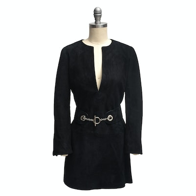 Gucci Black Lamb Suede Tunic with Belt
