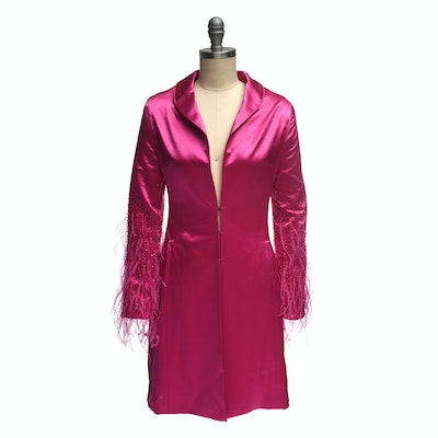 Escada Fuchsia Silk Dress Coat with Ostrich Feathers And Beading