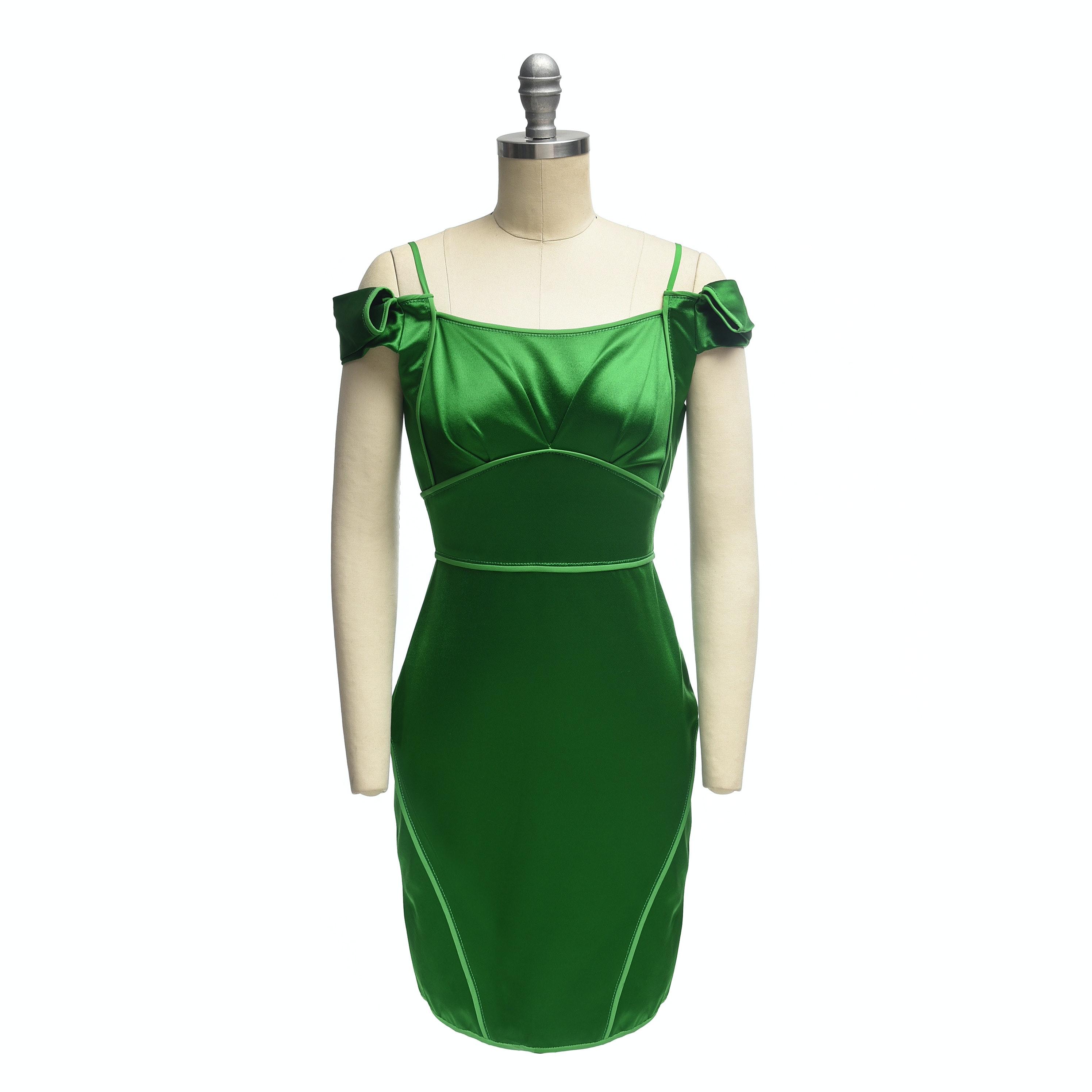 Zac Posen Emerald Green Satin Cap Sleeve Mini Dress