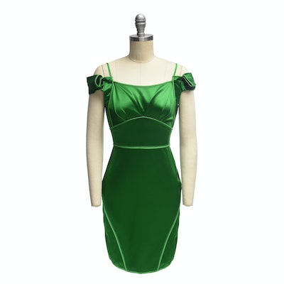 Zac Posen Emerald Green Satin Cap Sleeve Mini Dress
