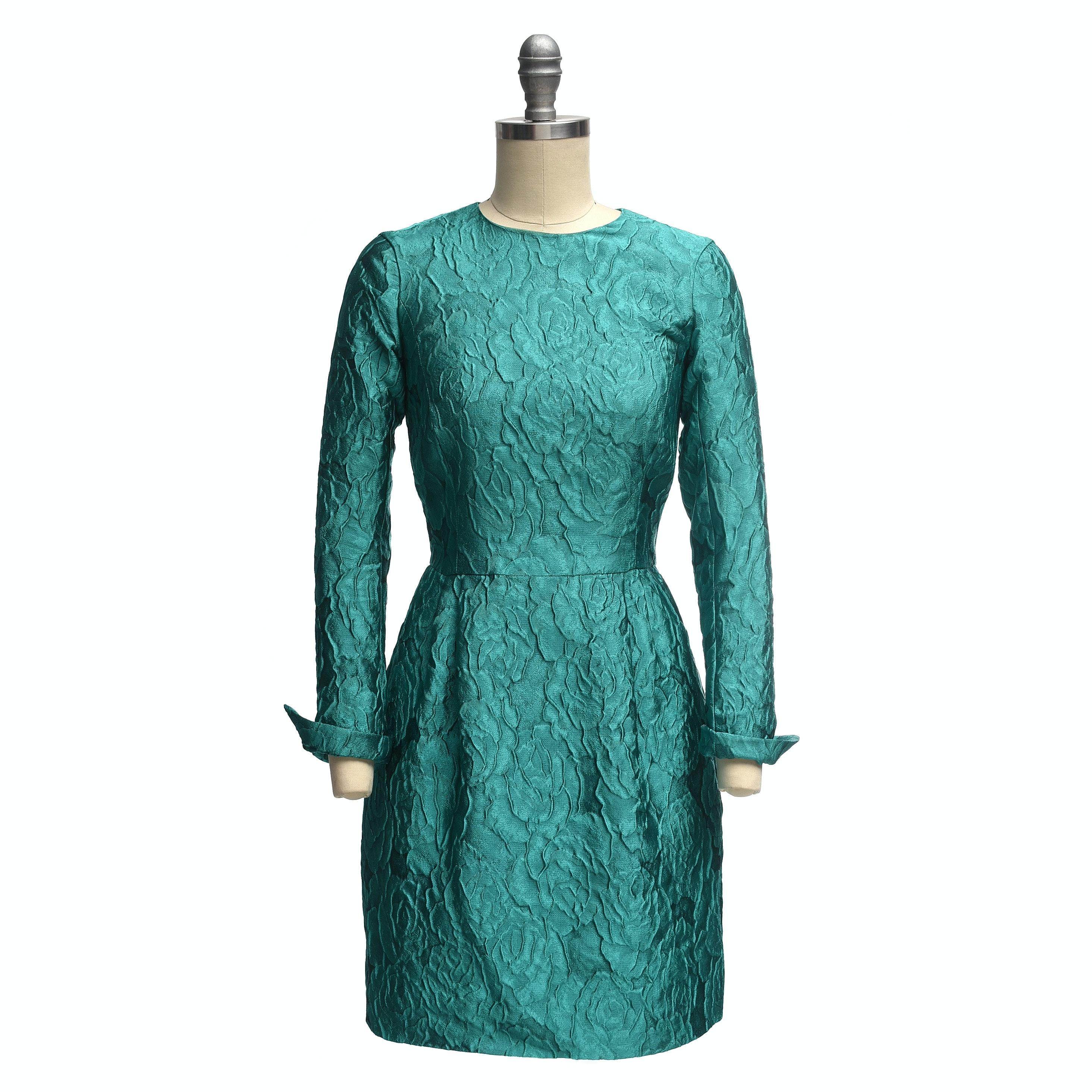 Carolina Herrera Turquoise Long Sleeve Mini Dress in a Textured Rose Motif