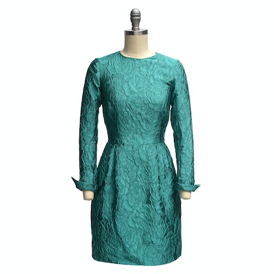 Carolina Herrera Turquoise Long Sleeve Mini Dress in a Textured Rose Motif