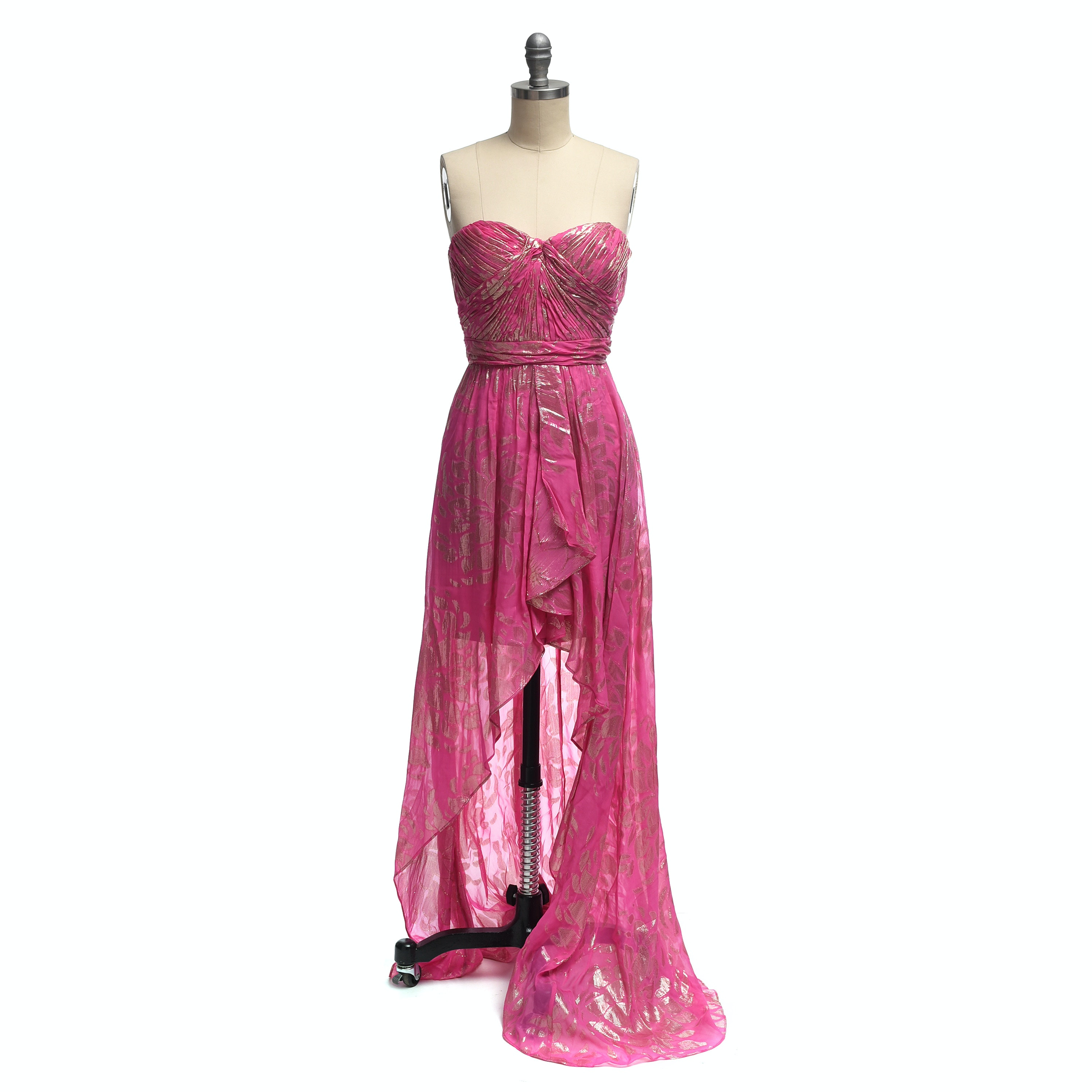 AQUA Dresses Strapless Pink and Gold Gown with Asymmetrical Hemline