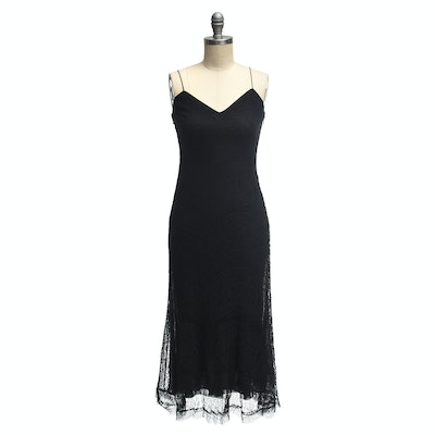 Ralph Lauren Black Label Black Cotton Blend Sleeveless Dress with Lace Overlay