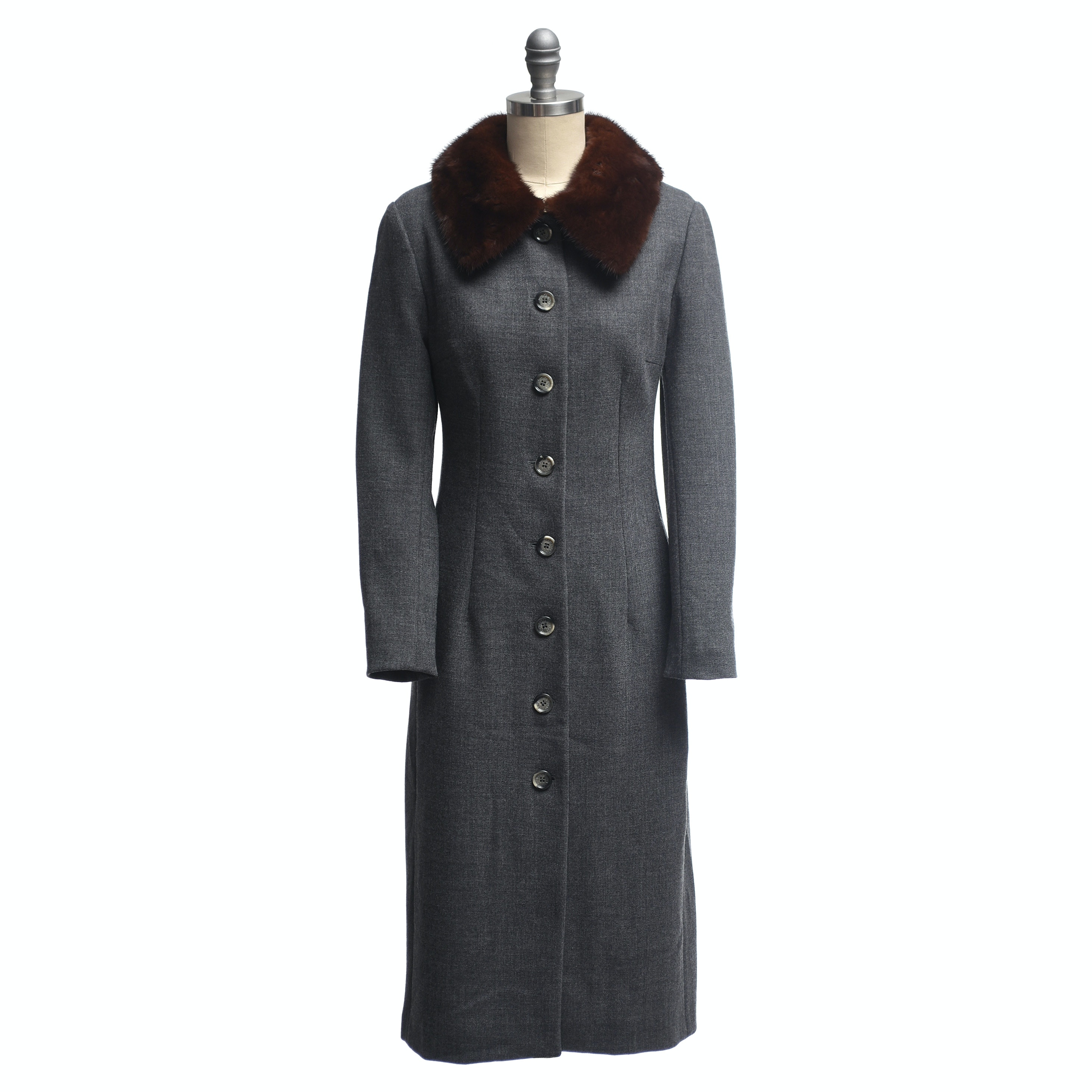 Dolce & Gabbana Gray Wool Overcoat with Mink Fur Collar