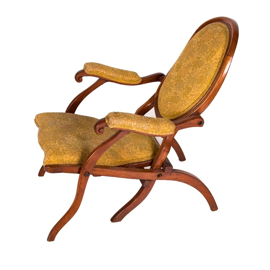 Victorian Carved Walnut Folding Lounge Chair, Late 19th Century